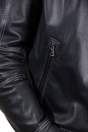 Men's Leather Jacket constrasting stitching three pockets black color Trus