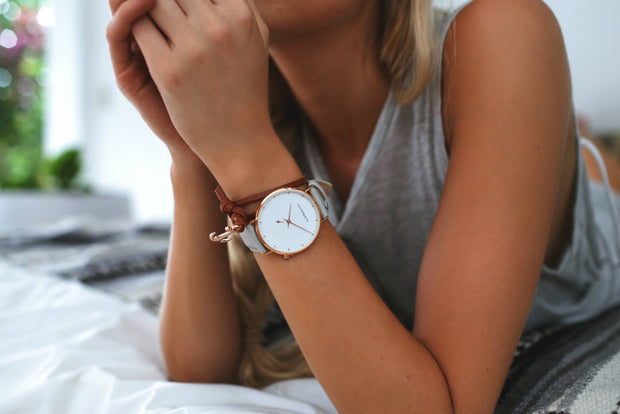 Chrono – Rose Gold / Grey Leather Timepiece