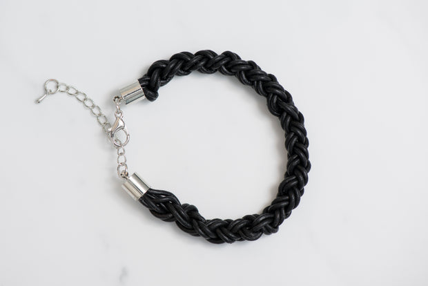 Black thick leather bracelet