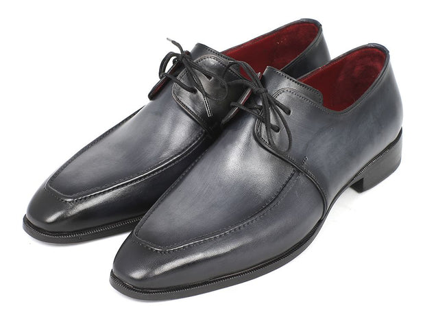 Paul Parkman Gray & Black Apron Derby Shoes For Men