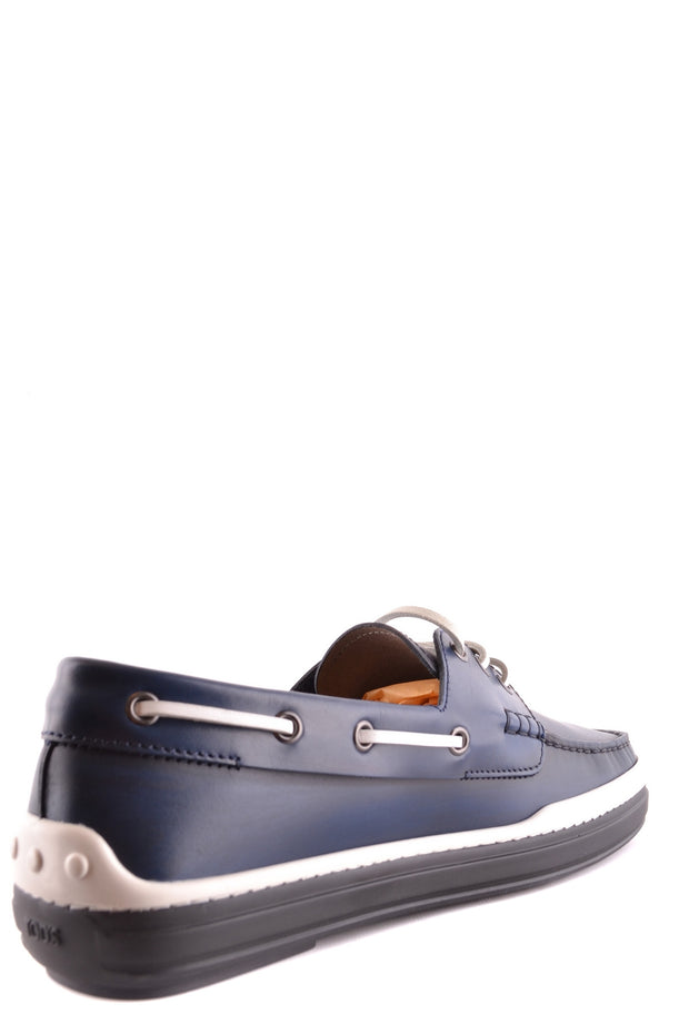 Tod's leather boat shoes dark blue with lace