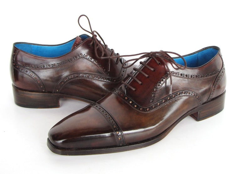 Paul Parkman Men's Captoe Oxfords Anthracite Brown  Leather