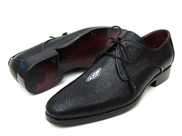 Paul Parkman Full Genuine Black Stingray Goodyear Welted Derby Shoes For Men