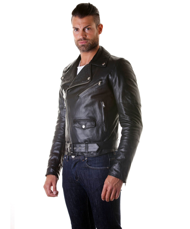 Men's Leather Biker Jacket Belted Perfecto | Made In Italy