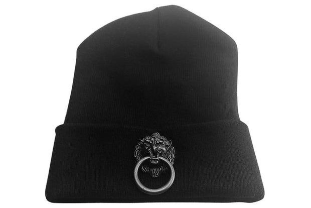 Black Skullcap with Large Black Metal Lion