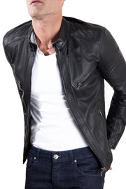 Men's Leather Racing Jacket Black | Made In Italy