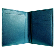 Saffiano Bi Colored Passport Sleeve Blue