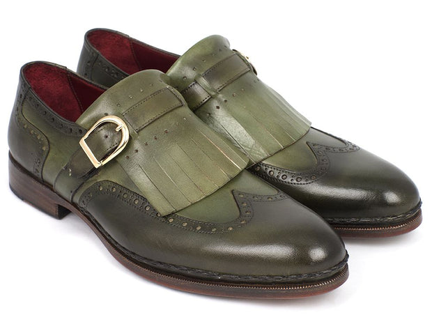 Paul Parkman Men's Wingtip Monkstrap Brogues Green  Leather Upper With Double Leather Sole