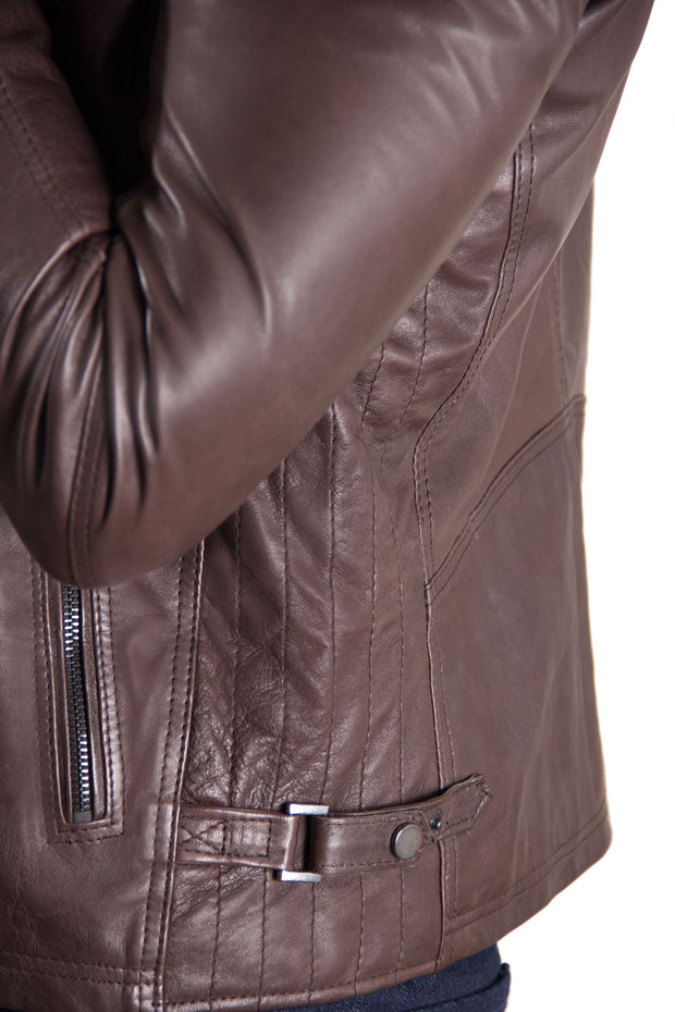 Men's Leather Racing Jacket Brown | Made In Italy
