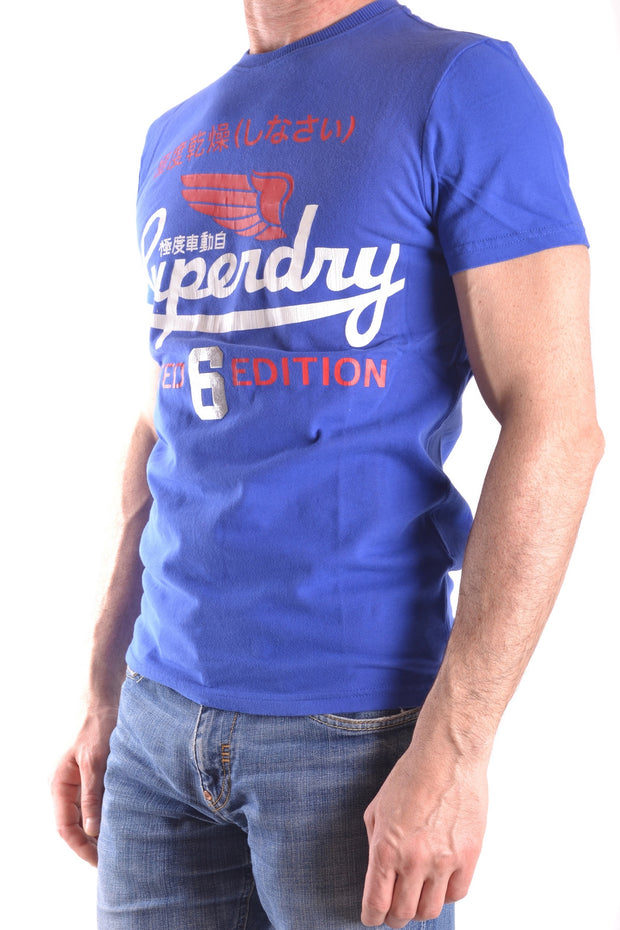 T-Shirt Superdry blue with print