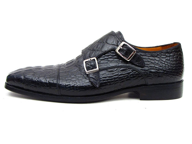Paul Parkman Double Monkstraps Crocodile Embossed Calfskin