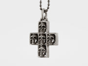 Multi Skull Cross Pendant Necklace in Sterling Silver