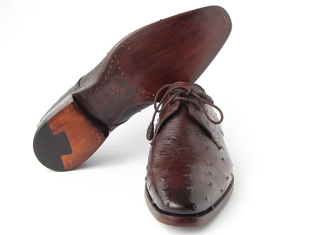 Paul Parkman Men's Brown Genuine Ostrich Derby Shoes