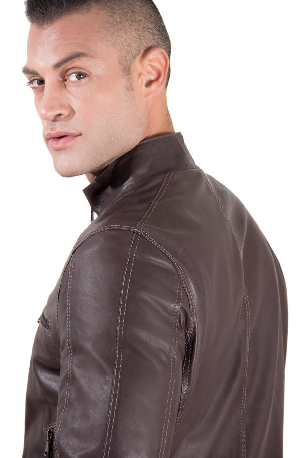 Men's Leather Jacket constrasting stitching three pockets dark brown color Trus