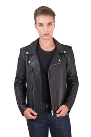 Men's Leather Biker Jacket black Perfecto | Made In Italy