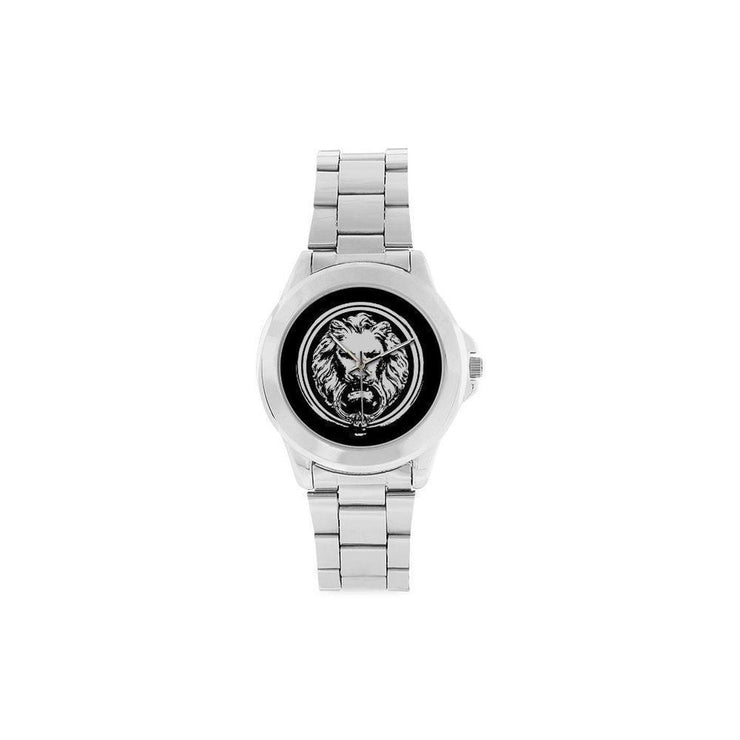 Stainless Steel Silver Watch White black Lion Unisex