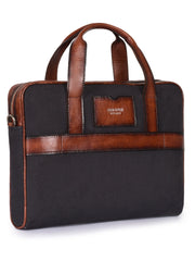 Phive Rivers Men's leather and canvas charcoal tan laptop bag