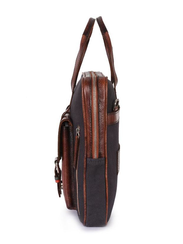 Phive Rivers men's leather and canvas charcoal tan crossbody laptop bag