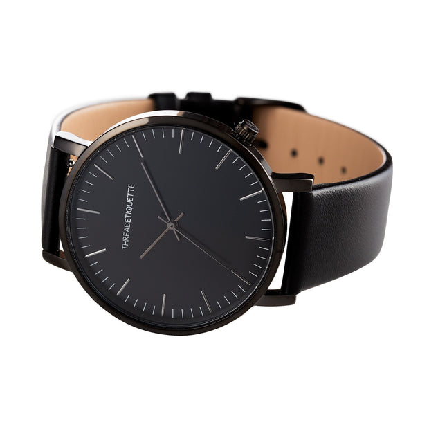 Classic –  Black on Black  Leather  Timepiece