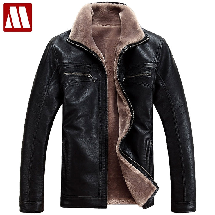 Plus Size 4XL Fur Lined Leather Jacket and Coats