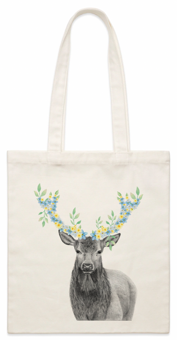 Floral Stag Canvas Bag