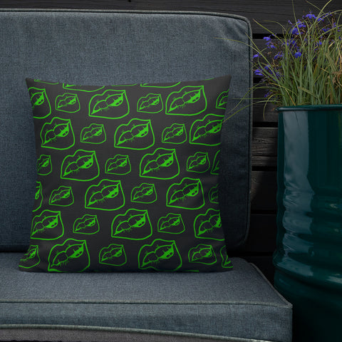 LIPS Green & Gray Premium Pillow