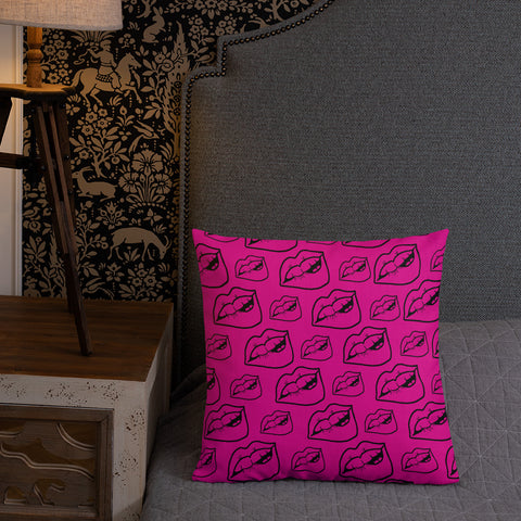 LIPS Black & Pink Premium Pillow