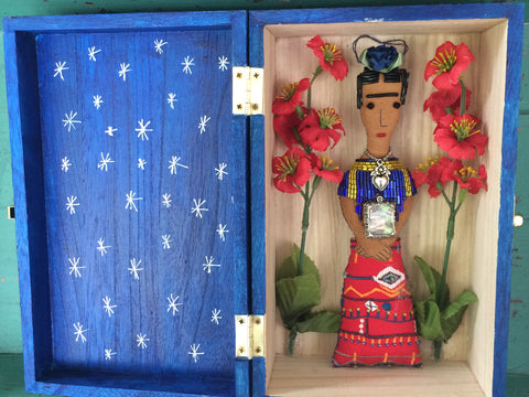 Picture of Frida Kahlo Shrine Box with Red Flowers by Snapdragon