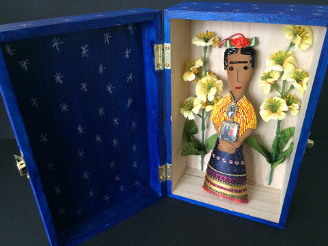 Picture of Frida Kahlo Shrine Box with Yellow Flowers by Snapdragon