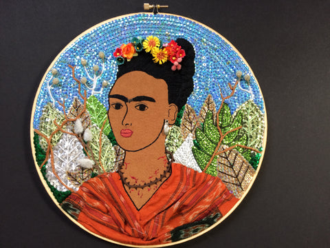 "Image of ""Frida Kahlo with Thorn Necklace"" Hoop"