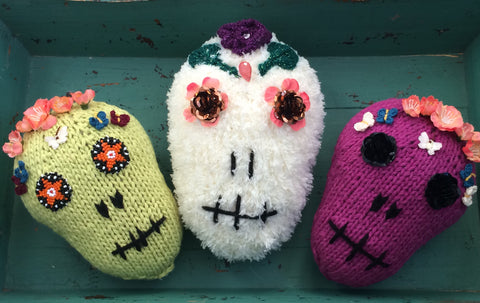 Finished Day of the Dead Skull Pillows