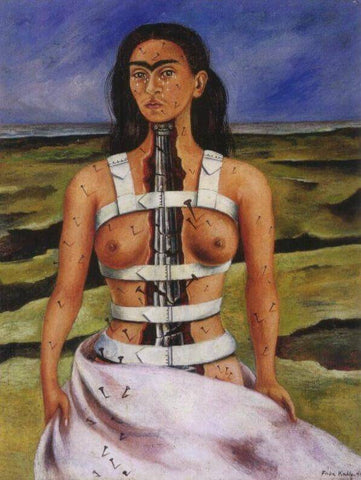 "Actual Painting of Frida Kahlo's ""Broken Column,"" 1944"