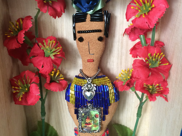 Frida Kahlo Folk Art Doll with Beadwork, Blue Rose, Heart Milagro, and Framed Kahlo Painting