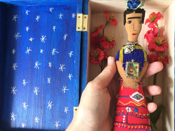 Frida Kahlo Art Doll, Removable, Blue Shrine Box with Silver Stars