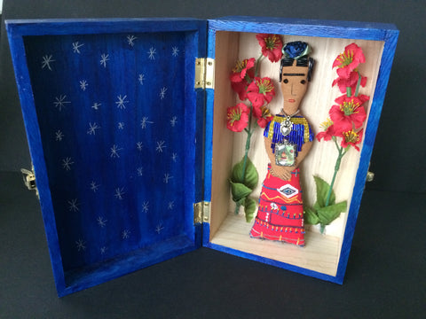 Frida Kahlo Folk Art Doll in Blue Shrine Box with Red Flowers