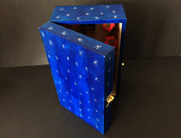 Dark blue hand-painted shrine box with silver stars painted on all sides