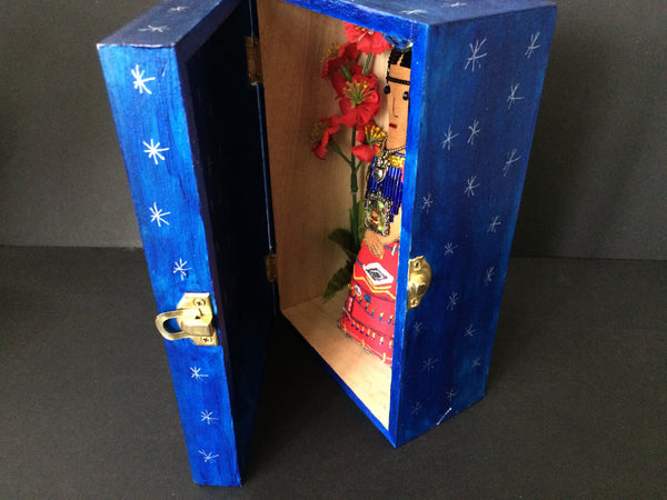 Hand-painted Blue Shrine Box with Silver Stars, Handmade Frida Kahlo Art Doll Inside