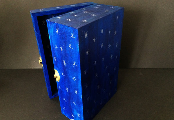 Dark Blue Shrine Box with Silver Stars, Hand-Painted