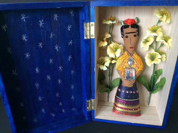 Frida Kahlo Art Doll in Blue Shrine Box with Yellow Flowers