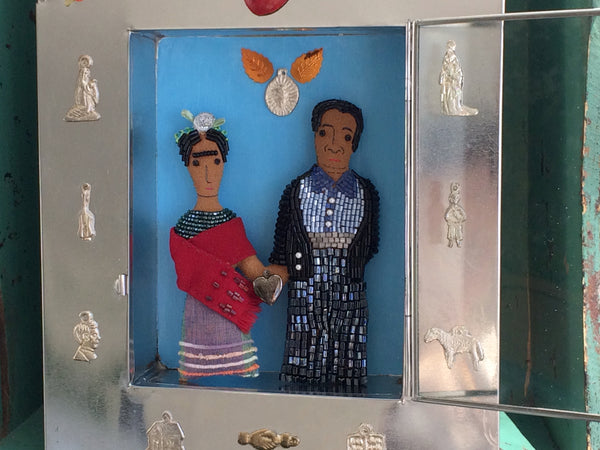 Frida Kahlo & Diego Rivera Art Doll Set in Tin Shrine