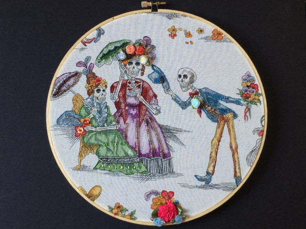 Day of the Dead Hoop Art - Embellished Hoop Art - Day of the Dead Embroidery - Halloween Gift - Dia de los Muertos Gift - Skeleton - Beading