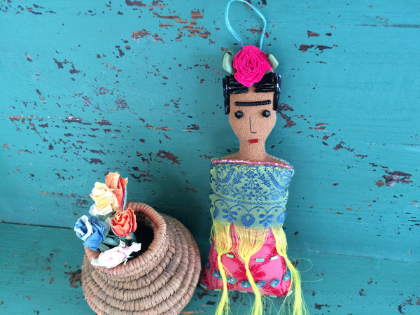 Frida Kahlo Doll - Frida Art Doll - Folk Art Doll - Frida Kahlo Ornament - Frida Soft Sculpture - Inspired by Mexican Folk Art - Beaded Doll