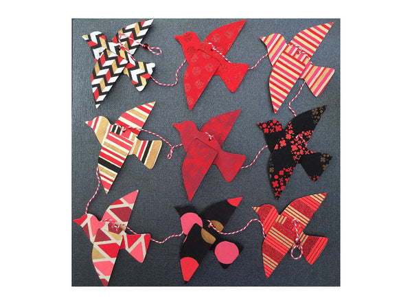 Paper Bird Garland - RED & BLACK - Wedding Garland - Party Garland - Bird Garland - Wedding Decor - Home Decor - Party Decor, Nursery Decor