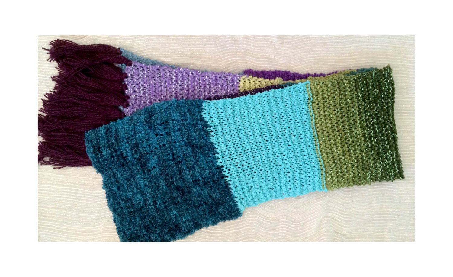 Extra-Long, Color-Blocked Scarf in Deep Jewel Tones