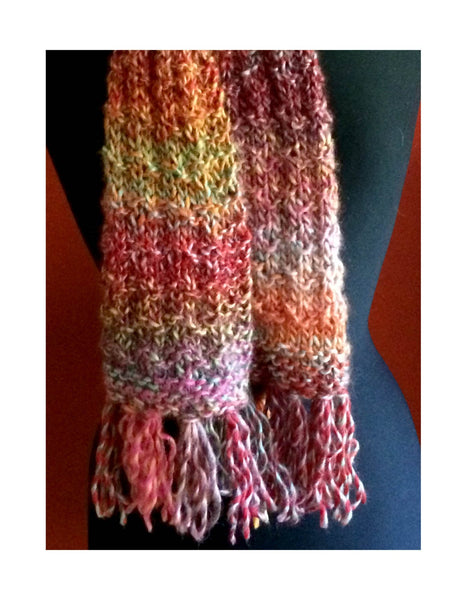 Rainbow Colored Scarf, Waffle Knit, Long, Soft (Unisex)