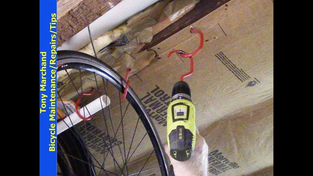 Installing Bike Hooks for Vertical Storage :We show you how to install and hang bikes from ceiling of your home, cellar, or garage using rubber coated hooks in ...