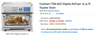 Amazon Canada Deals: Save 30% on Cuisinart Digital AirFryer Toaster Oven + 54% on Handheld Shower Head + More Offers