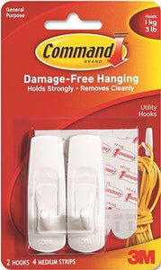 3M Removable Adhesive Utility Hooks' 3-Lb Capacity' Plastic' White' Set Of 2