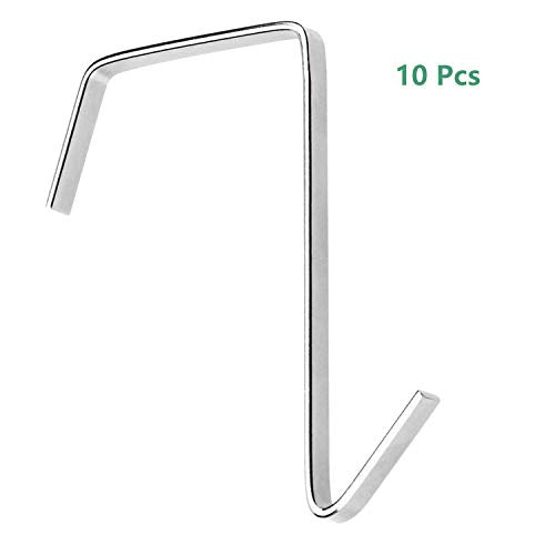 Oubest 10 Pack Over The Door Hook Cubical Hooks for Hanging Pocket Chart Clothes Towels Utensils Stainless Steel Door Hangers