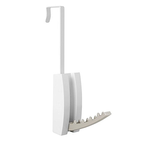 Umbra Flip Valet Wall Mounted or Over-The-Door Modern, Sleek, Space-Saving Hook, Holds Multiple Hangers for Organizing Clothes, White/Nickel